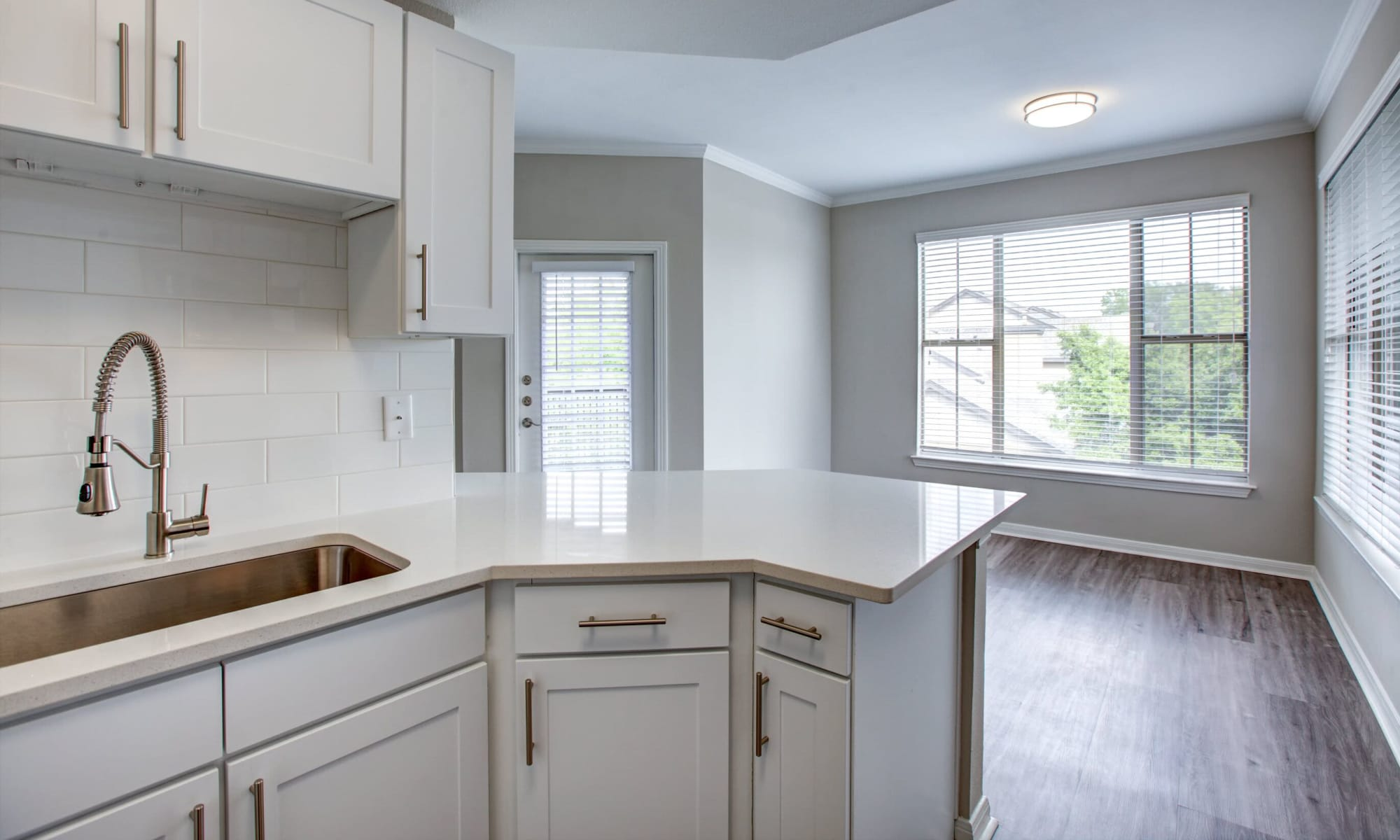 Beautifully renovated model home's kitchen at Riata Austin in Austin, Texas