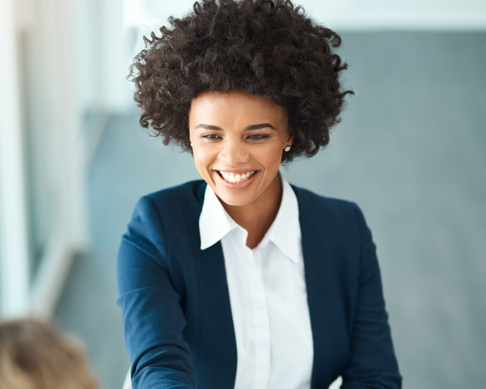 Woman interviewing for a job at Kriegman & Smith in Roseland, New Jersey