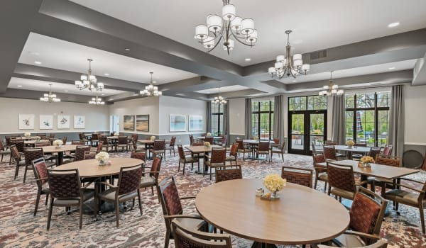 A spacious dining room at Anthology of Midlothian in North Chesterfield, Virginia.