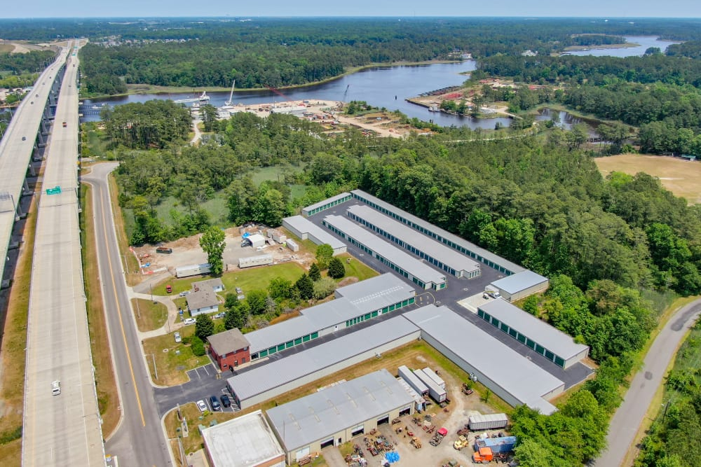 An aerial view of Highway 17, the Elizabeth River, and Dominion Self Storage