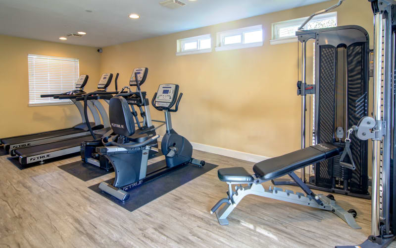 The fitness center at The Addison Apartments in Vancouver, Washington