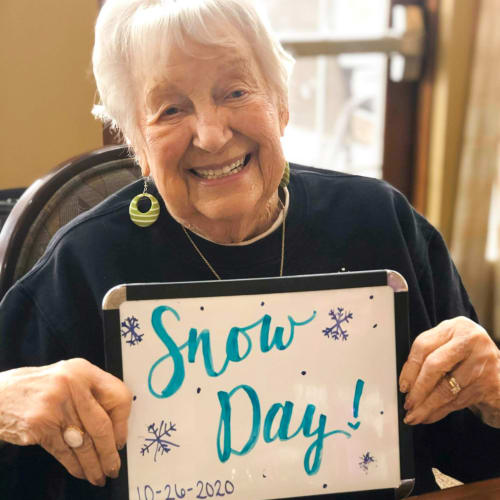 Resident celebrating a snow day The Oxford Grand Assisted Living & Memory Care in Wichita, Kansas