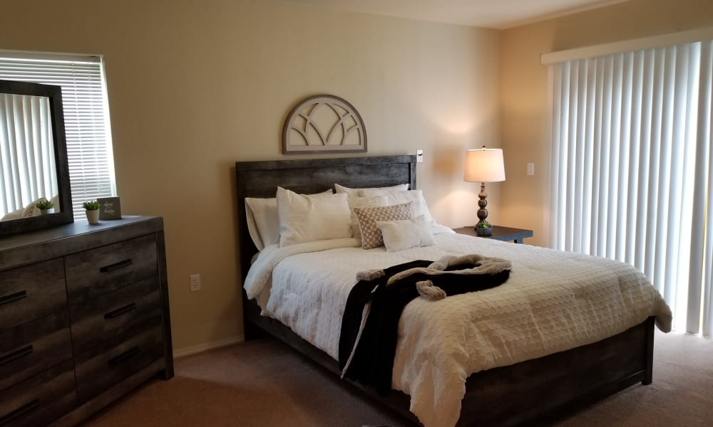 Beautiful bedroom at Evergreen Senior Living in Eugene, Oregon