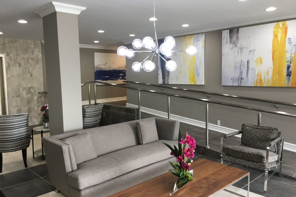Lobby seating area at Carlyle Towers