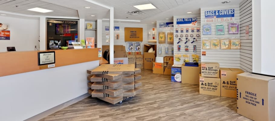 Boxes available in the office at A-1 Self Storage in Chula Vista, California