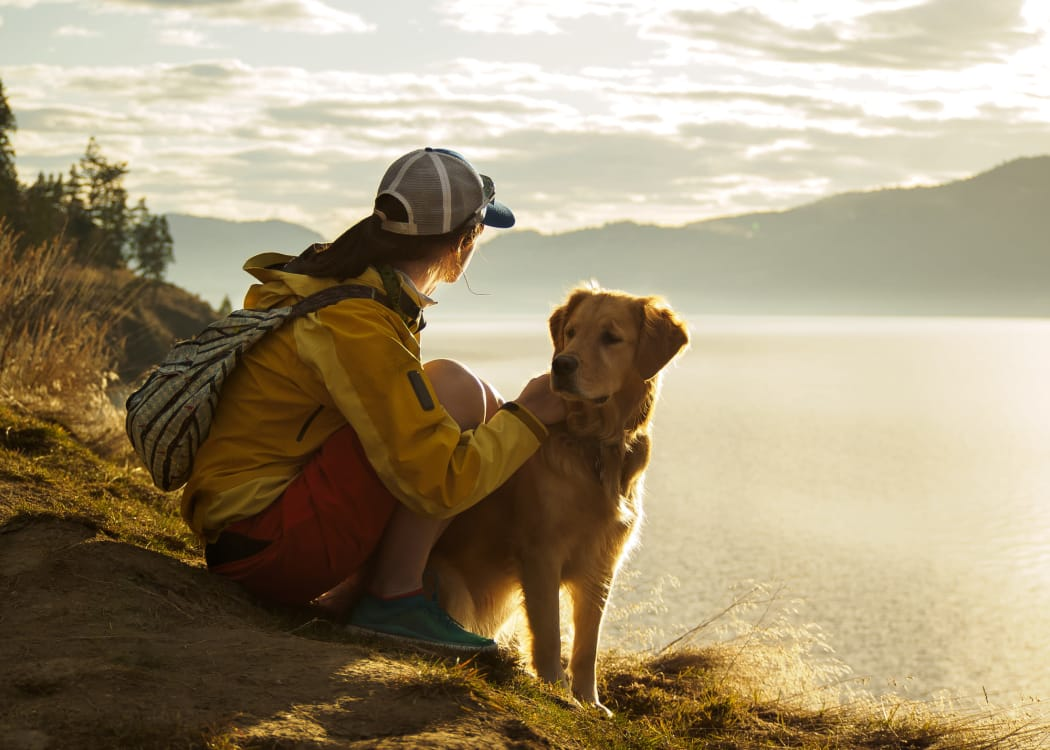 Girl hiking with dog