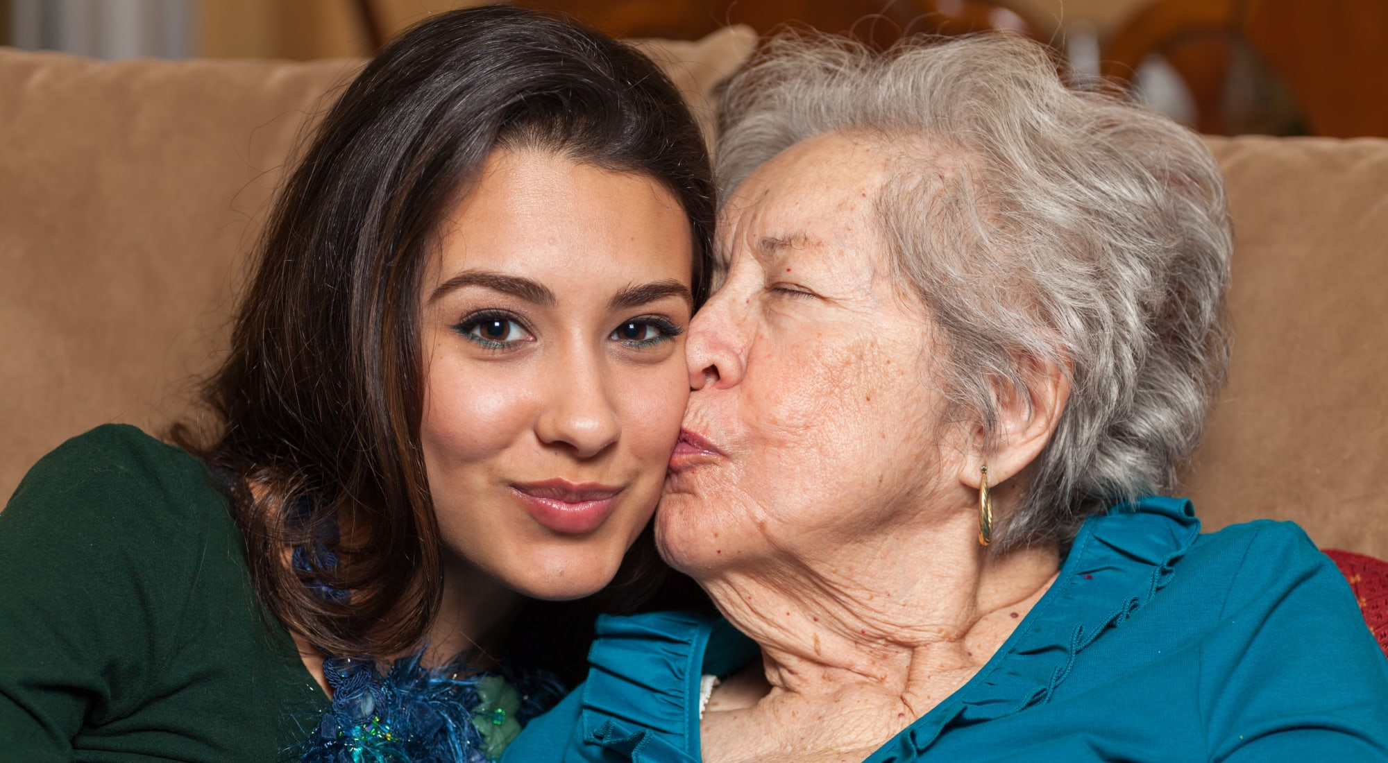 Resident and her granddaughter at Desert Peaks Assisted Living and Memory Care in Las Cruces, New Mexico