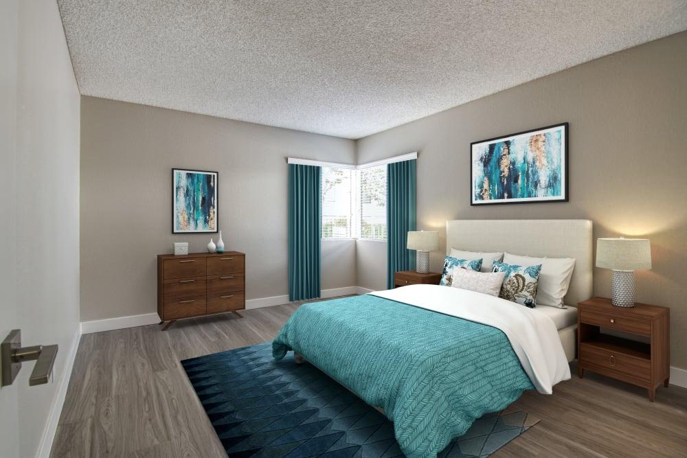 Bedroom Avana La Jolla Apartments in San Diego, California.