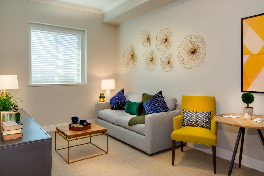 Colorful and comfortable living room at Sage Glendale in Glendale, California