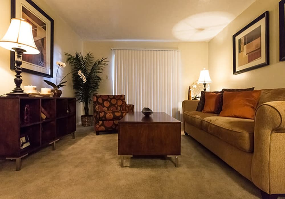 Living room layout at Riverstone Apartments in Bryan, Texas