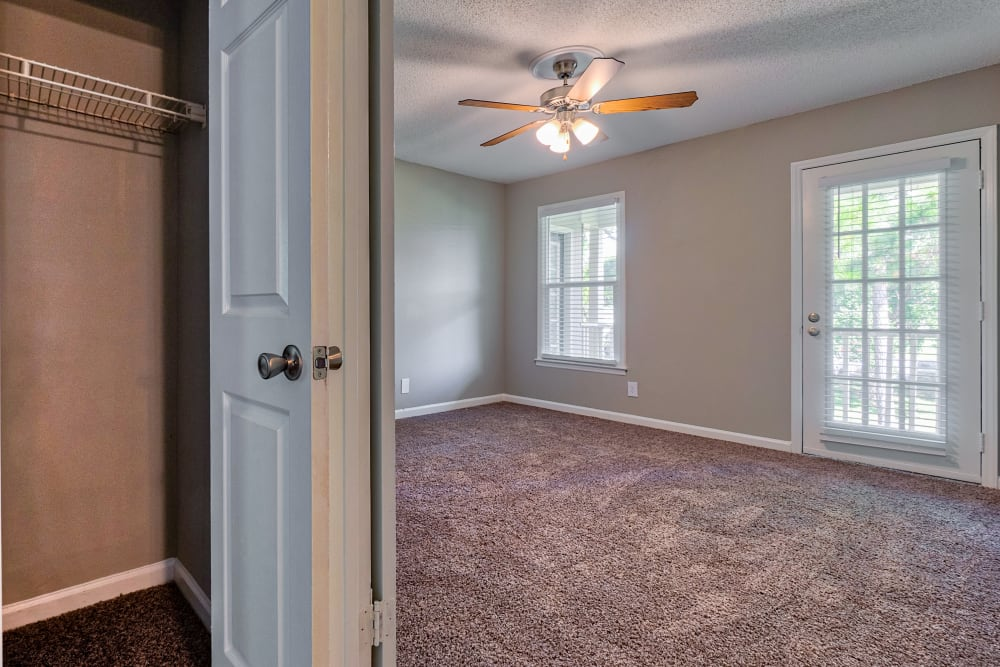 large bedroom and closet at The Gatsby at Midtown in Montgomery, Alabama