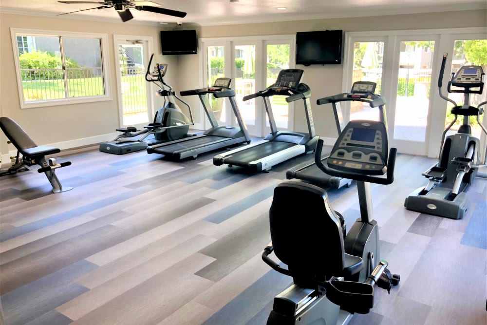 Clean, modern community gym at Village Oaks in Chino Hills, California