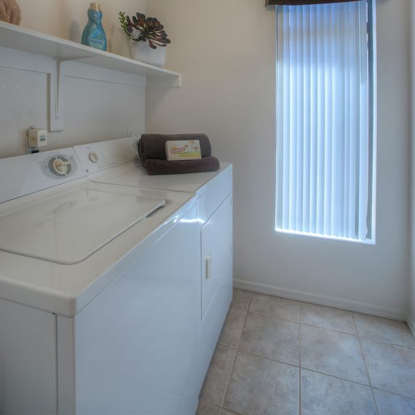 In-unit washer and dryer in a model home at San Pedregal in Phoenix, Arizona