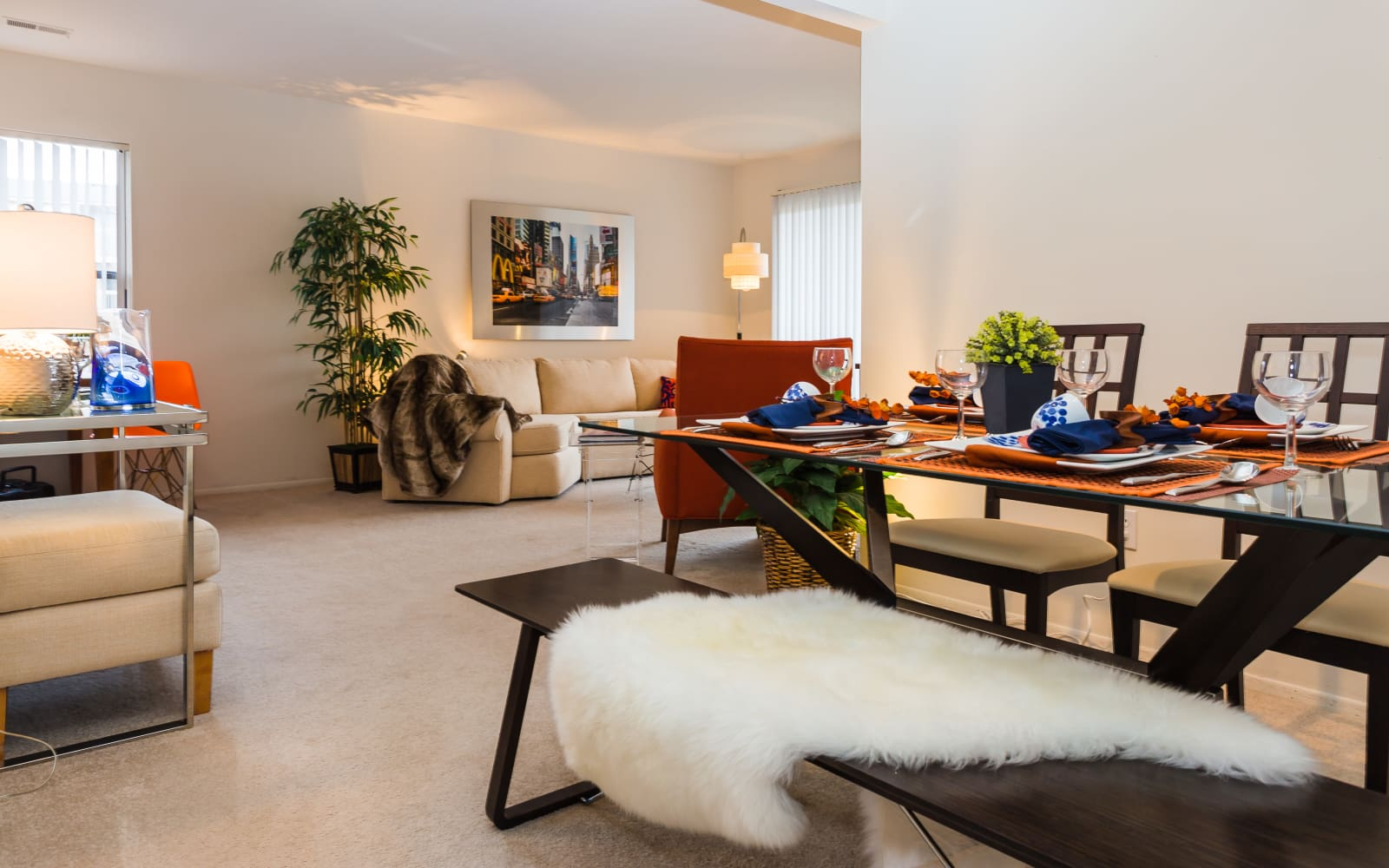 Spacious living area at Fairmont Park Apartments in Farmington Hills, Michigan