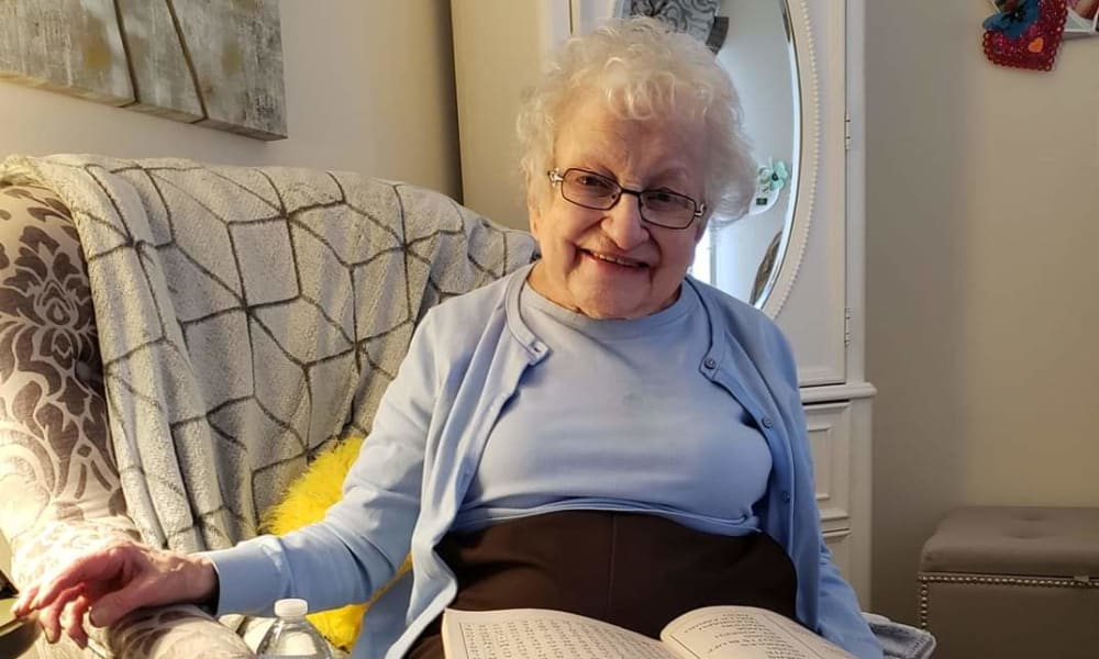 A resident loving her new life at Traditions of Lansdale in Lansdale, Pennsylvania