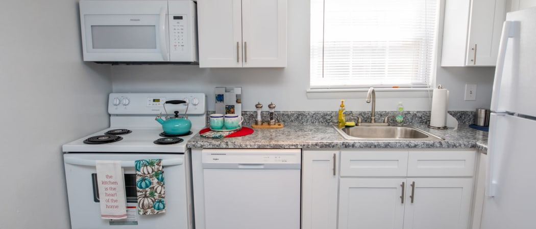 Modern kitchen in model home at The Residences at Forest Grove in Newport News, Virginia