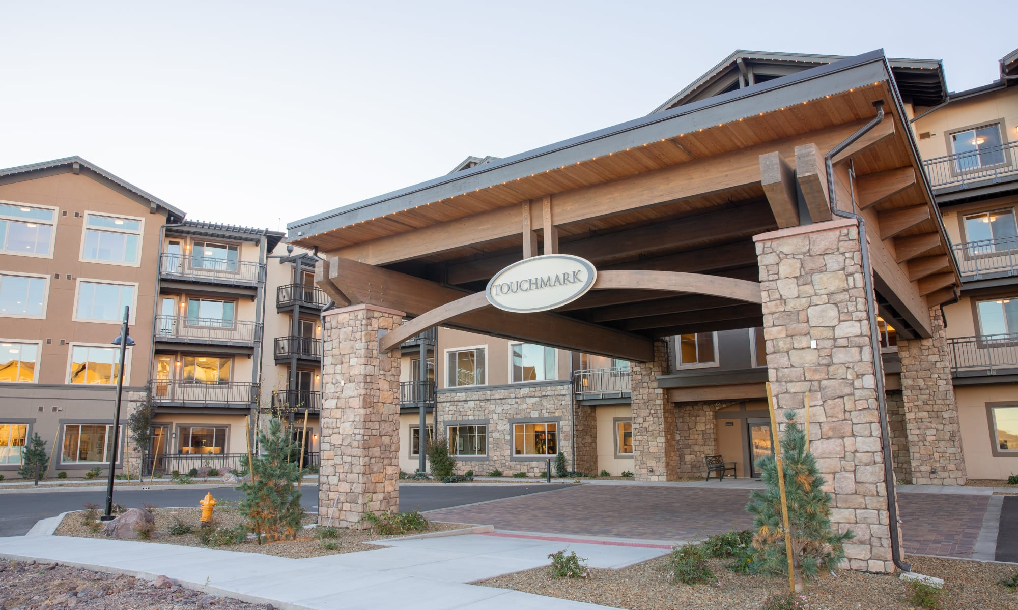 The main entrance at Touchmark at The Ranch in Prescott, Arizona