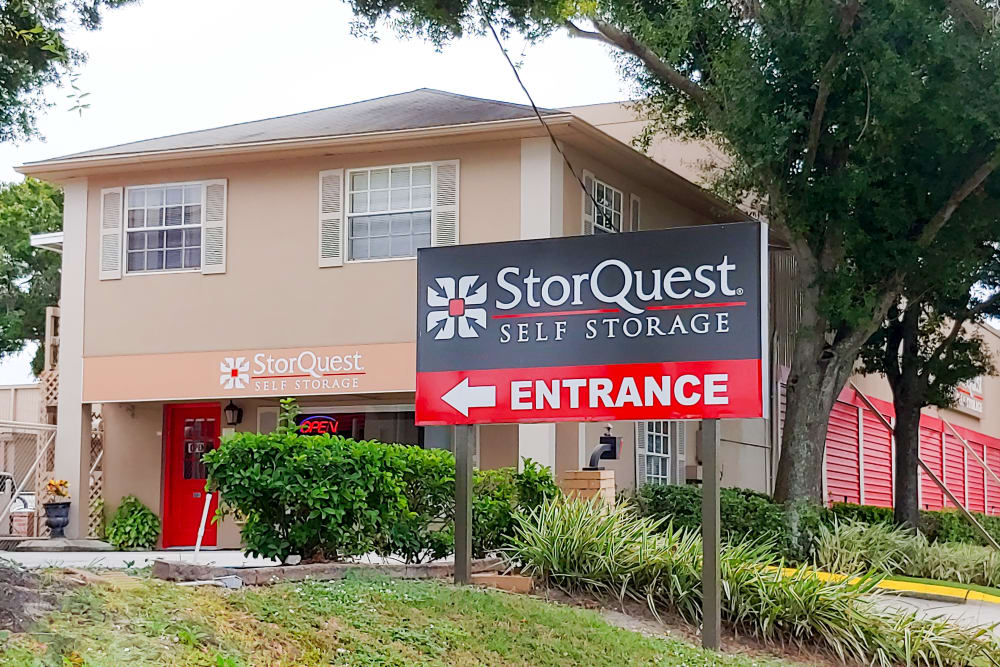 Store front at StorQuest Self Storage in Tampa, FL