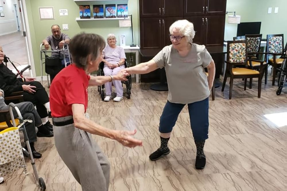 Residents dancing at Brooklyn Pointe in Brooklyn, Ohio