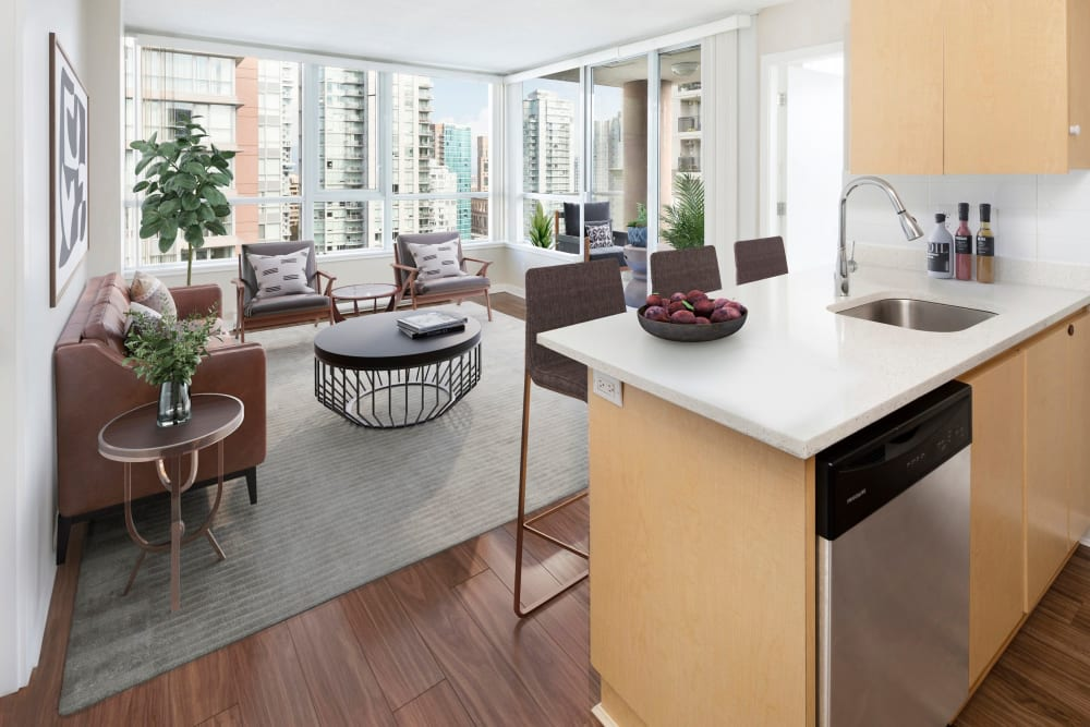 Magnificent living and dining room at Metropolitan Towers in Vancouver, British Columbia
