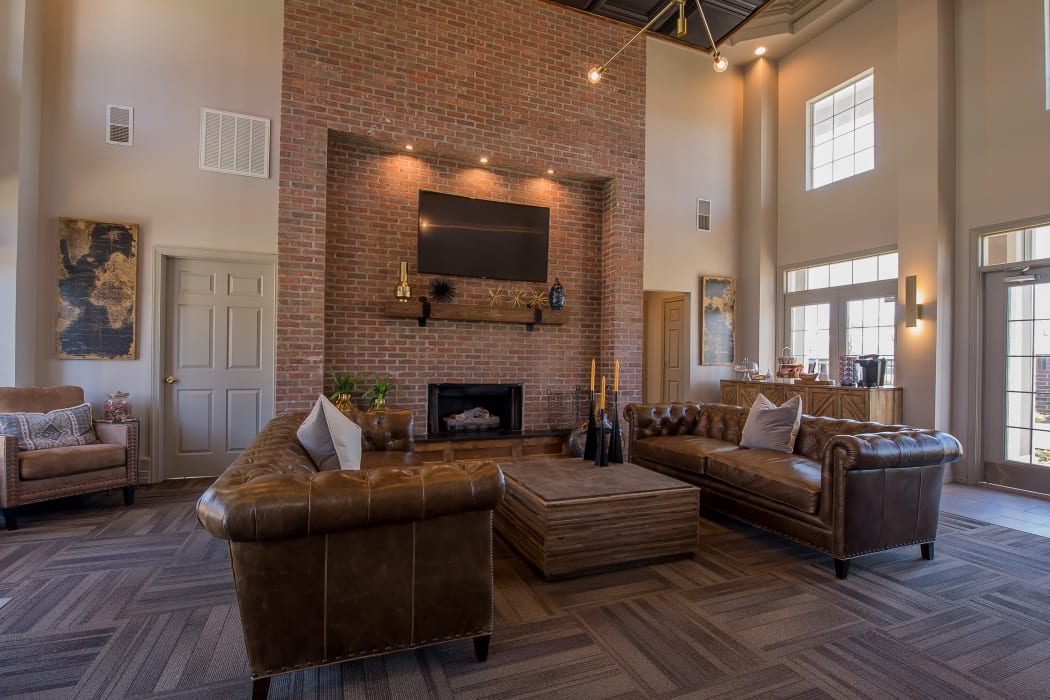 Clubhouse with vaulted ceilings at The Remington Apartments in Wichita, Kansas