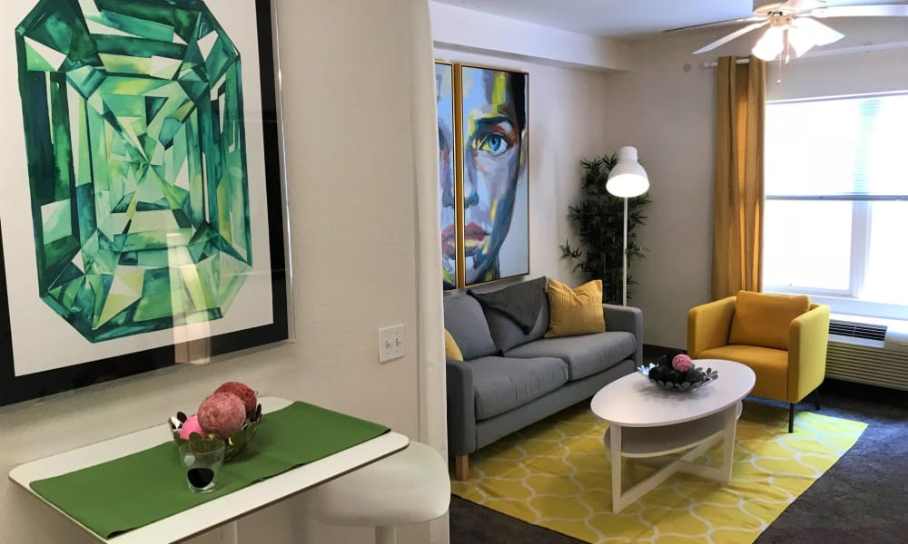 Model Living Room at City Center Apartments in Las Vegas