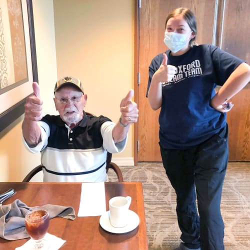 Thumbs up at Oxford Senior Living in Wichita, Kansas