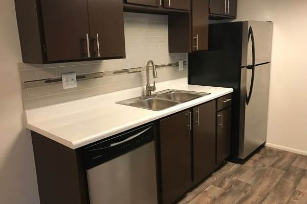 Kitchen at at Windgate Apartments in Bountiful, Utah