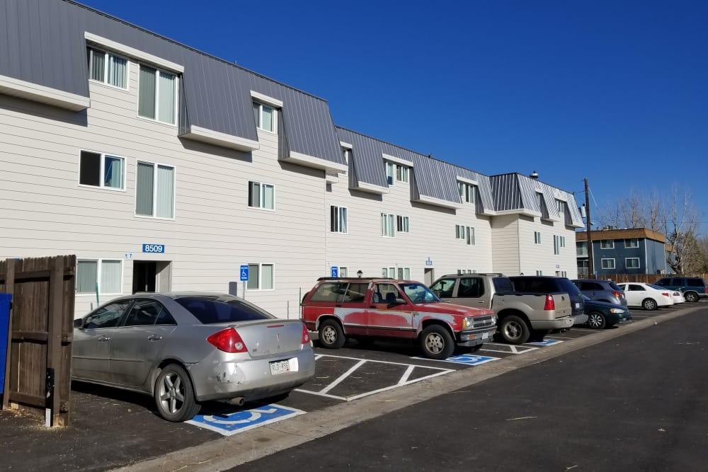 Exterior parking at Park Terrace in Arvada, Colorado