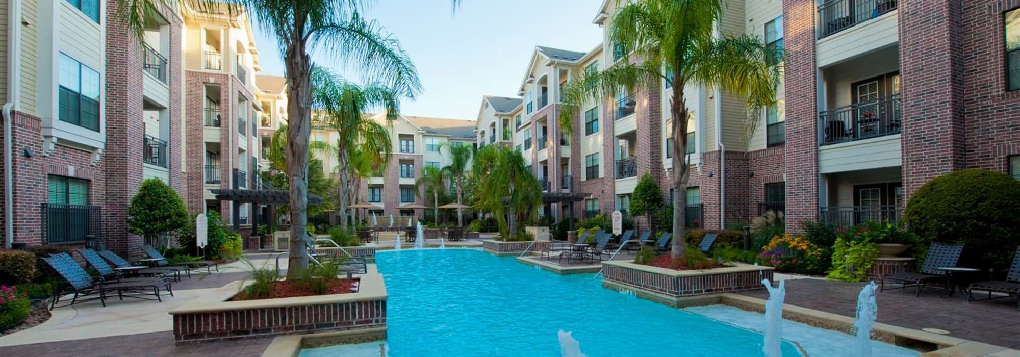View of our swimming pool at Villas at Bunker Hill in Houston, TX