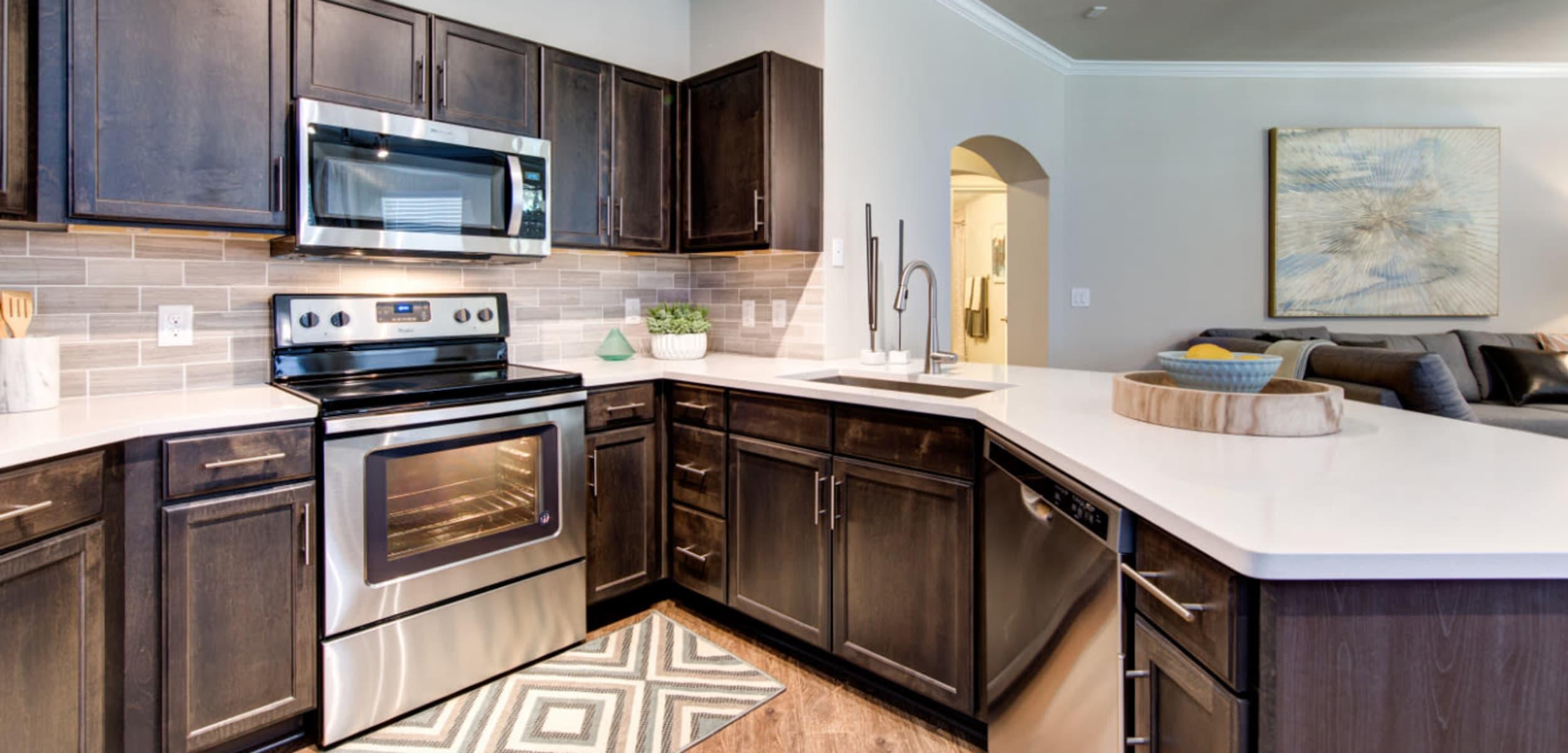 Modern, sleek kitchen at Marquis at Cinco Ranch in Katy, Texas