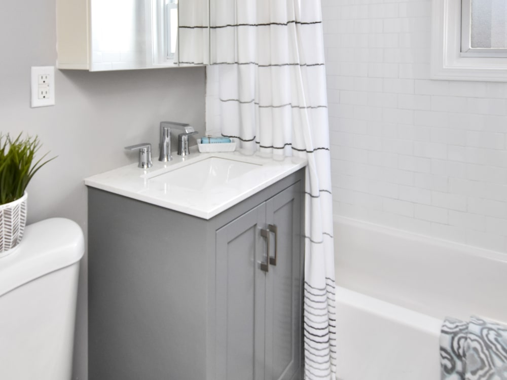 Newly finished bathroom at Encore 99 in East Haven, Connecticut