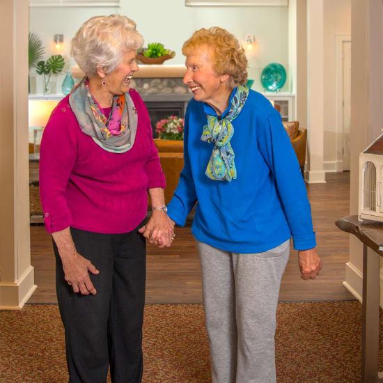 Two residents talking at Madonna Gardens in Salinas, California