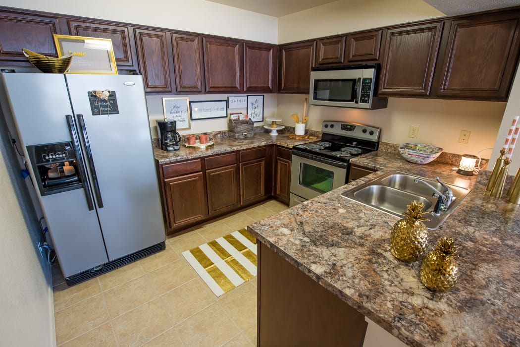 Granite-style counter tops at Fountain Lake in Edmond, Oklahoma