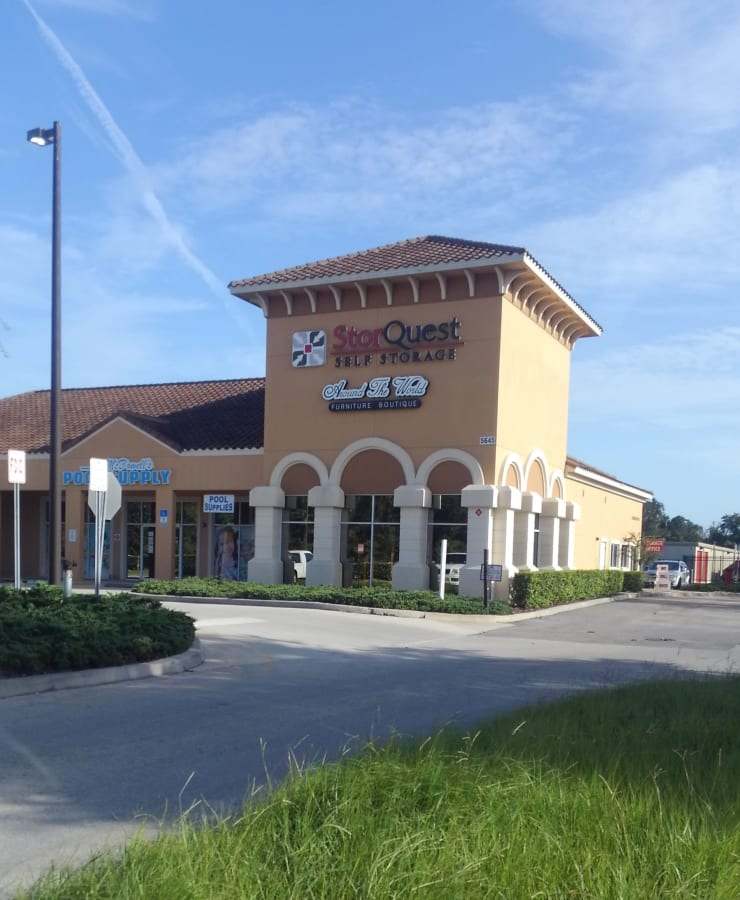 The exterior of the main entrance at StorQuest Self Storage in Sanford, Florida