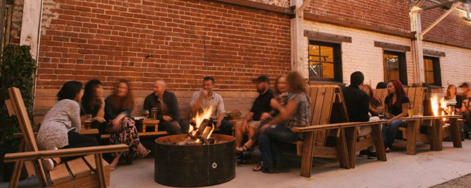 Outdoor patio seating near The Moran in Oakland, California
