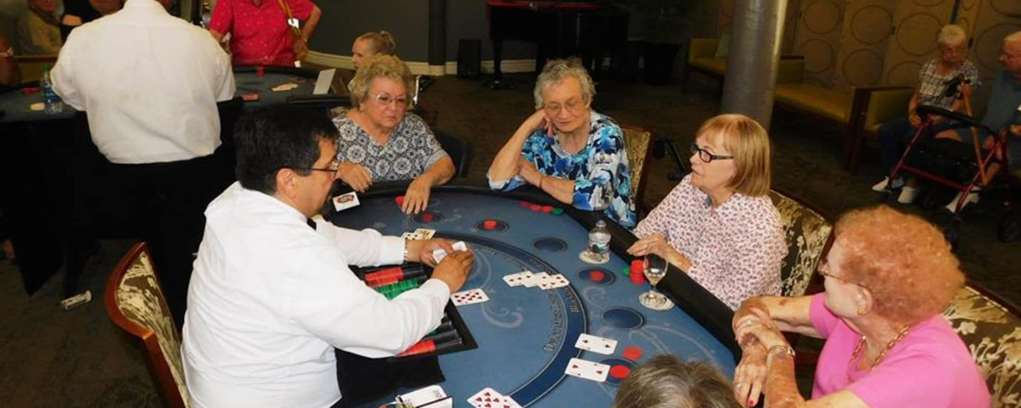Seniors playing poker at Dale Commons in Modesto, California