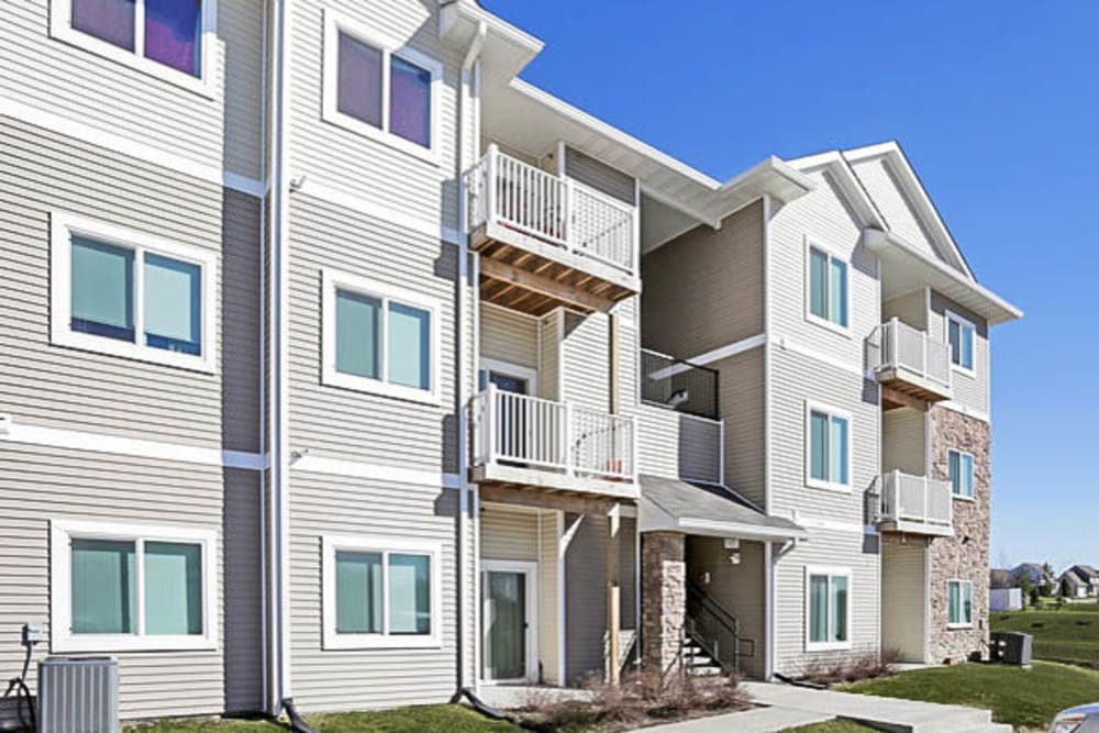 Apartments with balconies at Johnston Heights in Johnston, Iowa