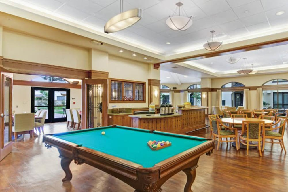 Pool table at Merrill Gardens at Campbell in Campbell, California.