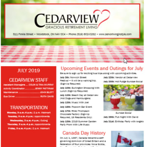 July Cedarview Gracious Retirement Living Newsletter