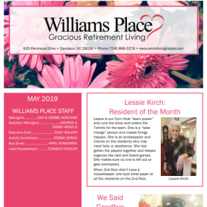 May Williams Place Gracious Retirement Living newsletter