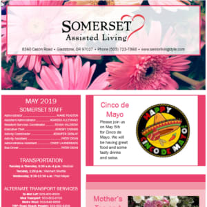 May Somerset Assisted Living newsletter
