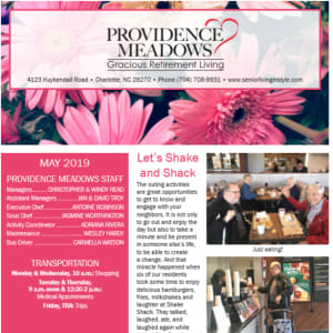 May Providence Meadows Gracious Retirement Living newsletter