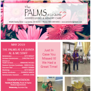 May The Palms at La Quinta Assisted Living and Memory Care newsletter