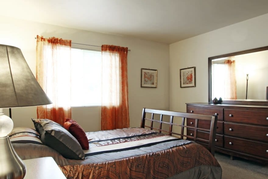 Model bedroom at Sun Valley Apartments in Fitchburg, WI