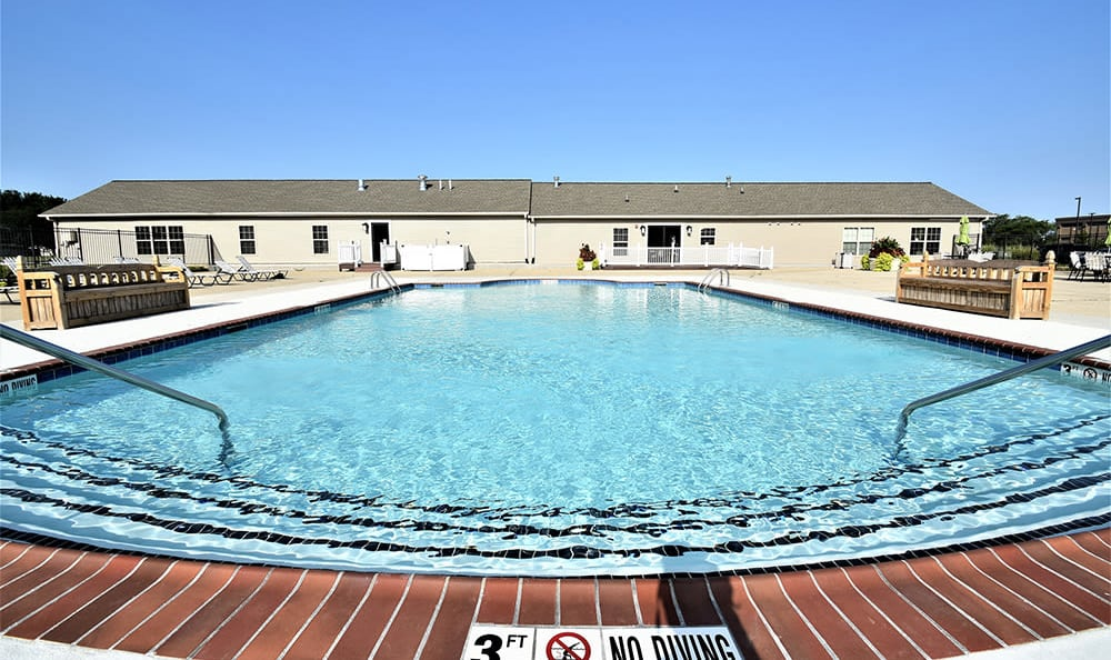 Sparkling swimming pool at The Lakes at 8201 in Merrillville, IN