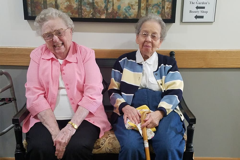 Residents waiting for appointment in beauty shop at Clover Ridge Place in Maquoketa, Iowa.