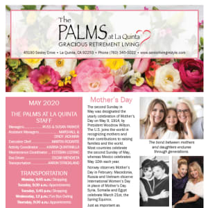 May The Palms at LaQuinta Gracious Retirement Living newsletter