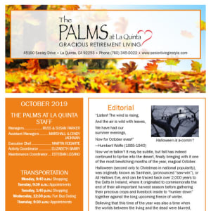 October The Palms at La Quinta Assisted Living and Memory Care Newsletter
