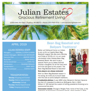 April Julian Estates Gracious Retirement Living Newsletter